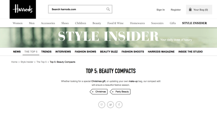 Harrods Style Insider Top 5 Beauty Compacts November 2014