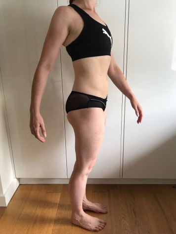 Running In Glass Shoes Bikini Fitness Goal Month 2 Progress Photo Side