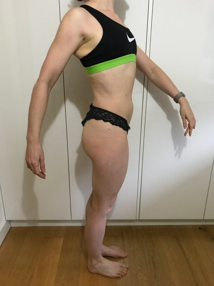 Running in Glass Shoes Fitness Blog Bikini Fitness Goal Progress Photo Side