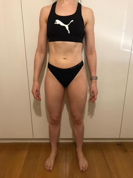 Running In Glass Shoes Bikini Fitness Check-In Month 6 Front